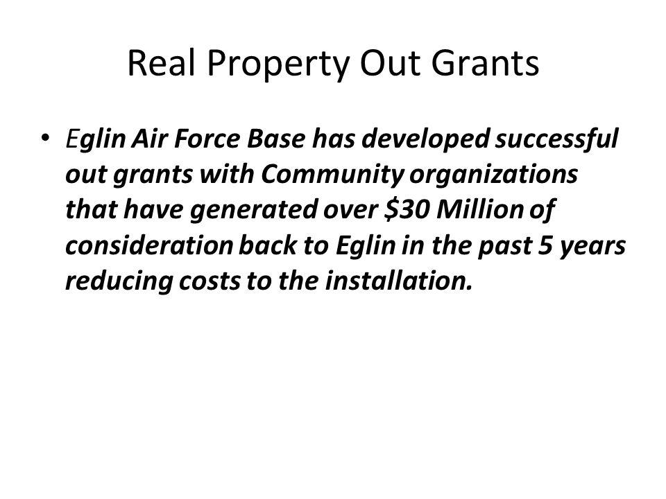 Real Property Out Grants