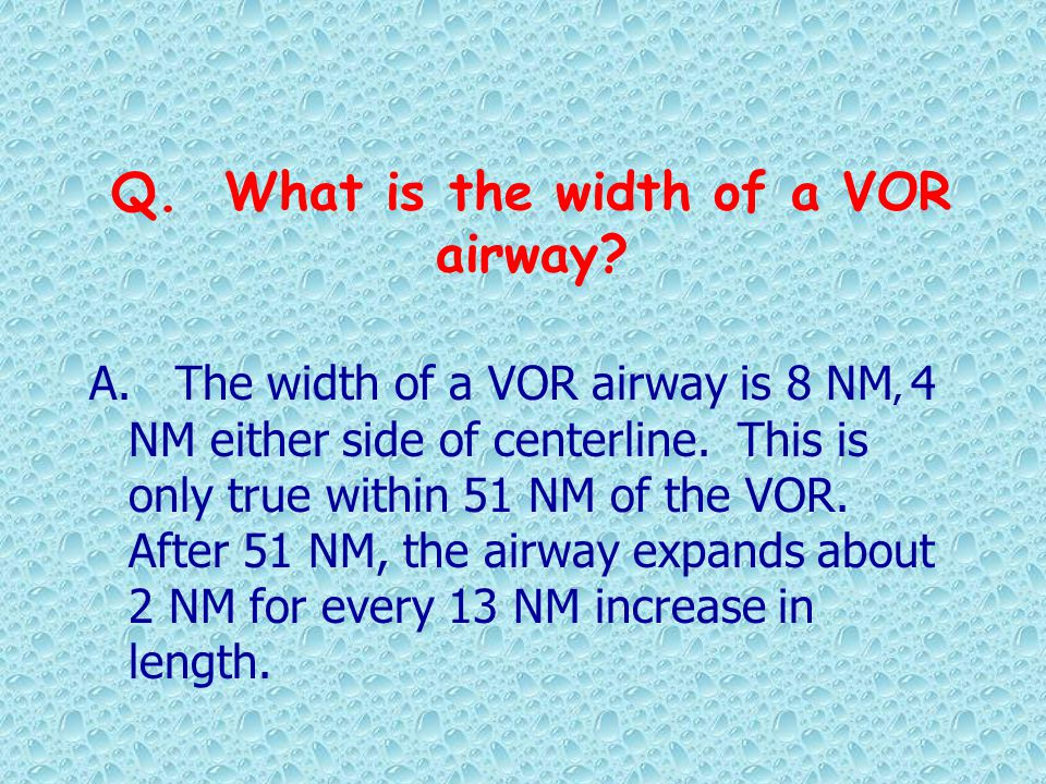 Q. What is the width of a VOR airway