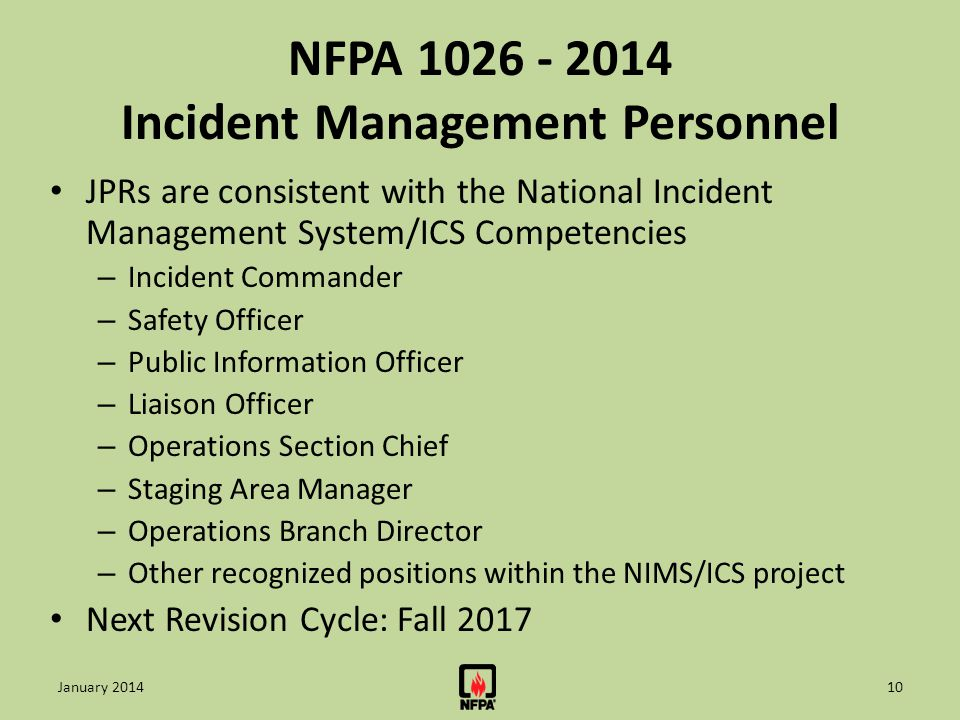 NFPA 1026 - 2014 Incident Management Personnel