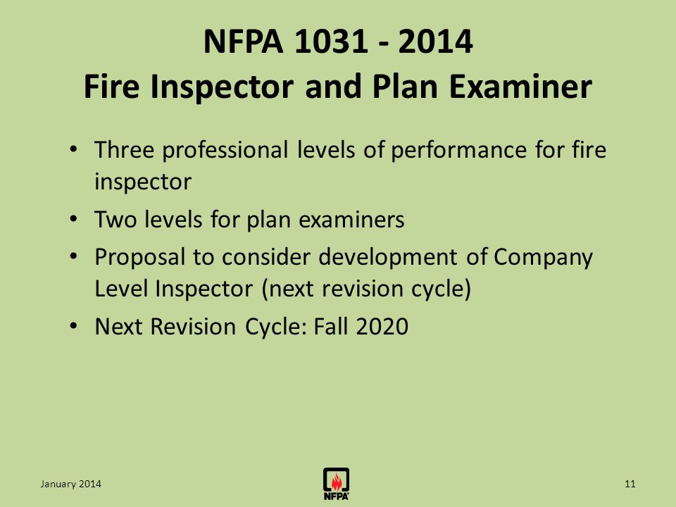 NFPA 1031 - 2014 Fire Inspector and Plan Examiner