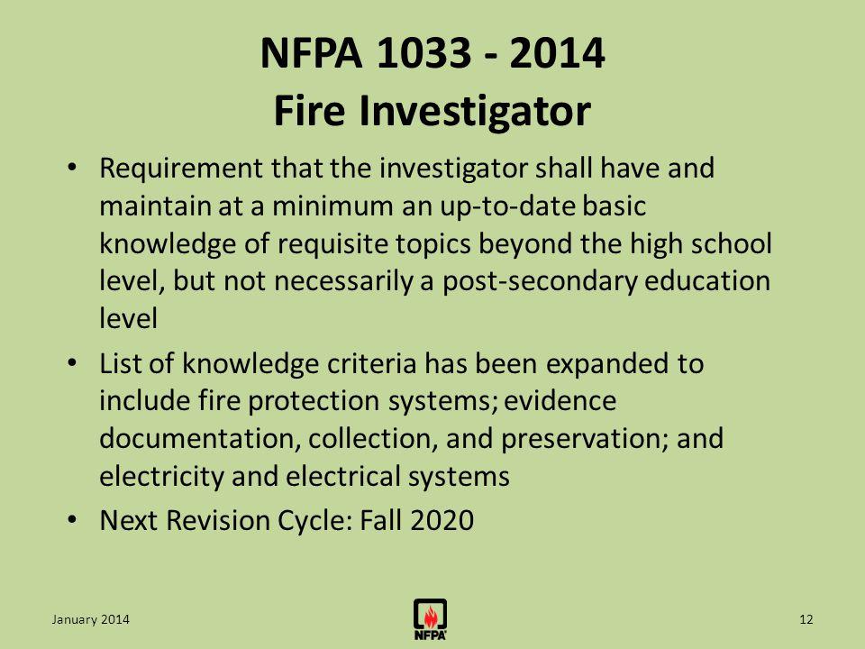 NFPA 1033 - 2014 Fire Investigator