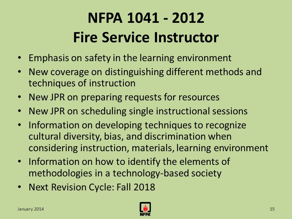 NFPA 1041 - 2012 Fire Service Instructor