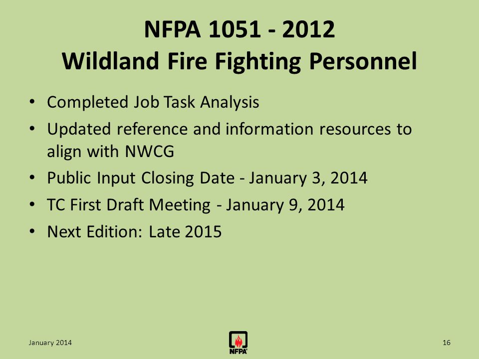 NFPA 1051 - 2012 Wildland Fire Fighting Personnel