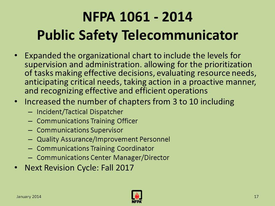 NFPA 1061 - 2014 Public Safety Telecommunicator