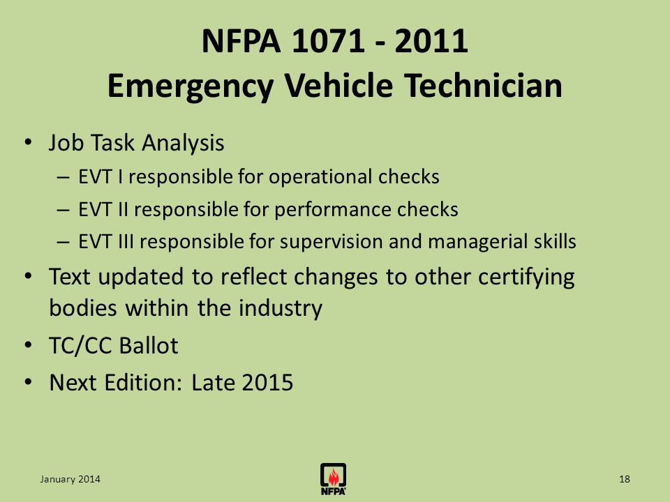 NFPA 1071 - 2011 Emergency Vehicle Technician