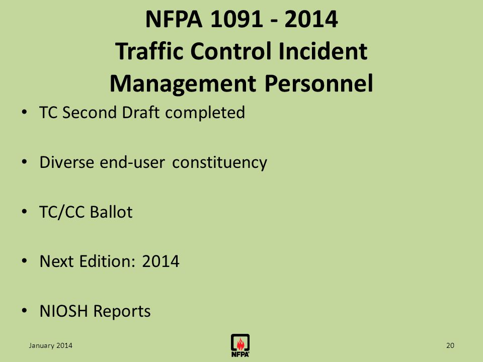 NFPA 1091 - 2014 Traffic Control Incident Management Personnel