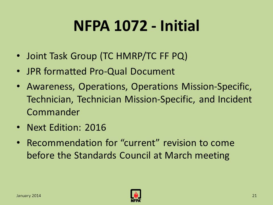 NFPA 1072 - Initial Joint Task Group (TC HMRP/TC FF PQ)