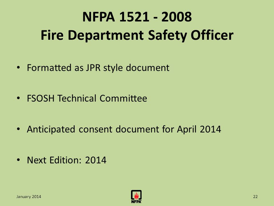 NFPA 1521 - 2008 Fire Department Safety Officer