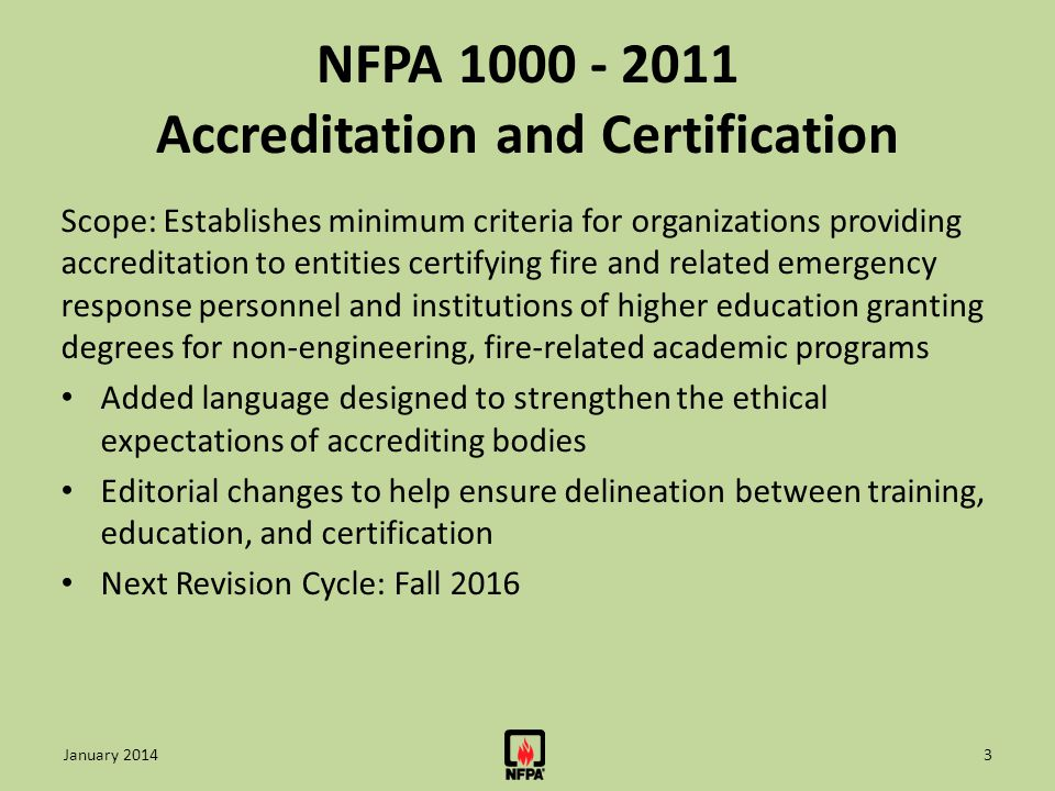 NFPA 1000 - 2011 Accreditation and Certification