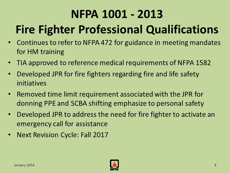 NFPA 1001 - 2013 Fire Fighter Professional Qualifications