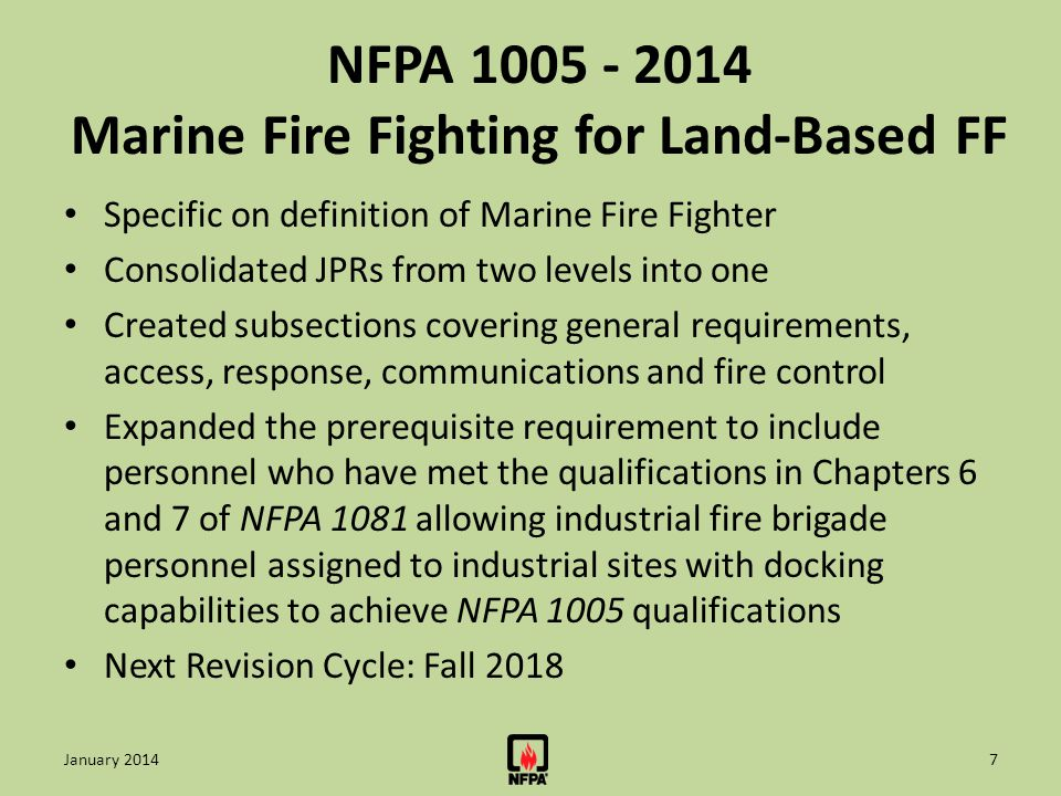 NFPA 1005 - 2014 Marine Fire Fighting for Land-Based FF