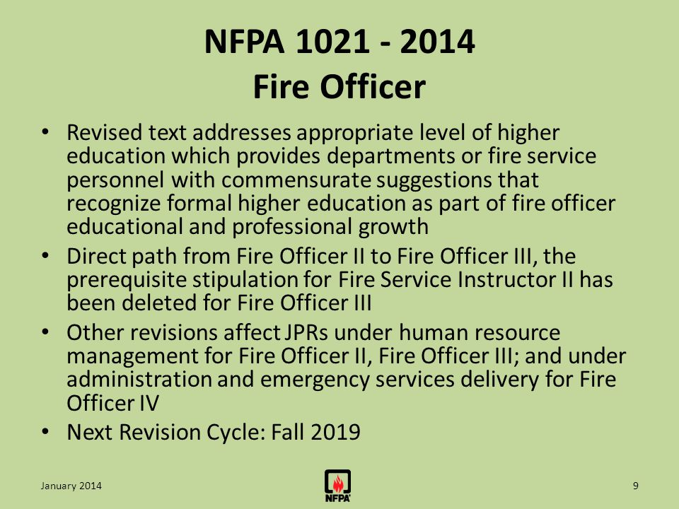 NFPA 1021 - 2014 Fire Officer