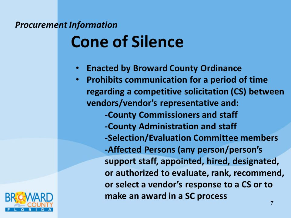Cone of Silence Procurement Information