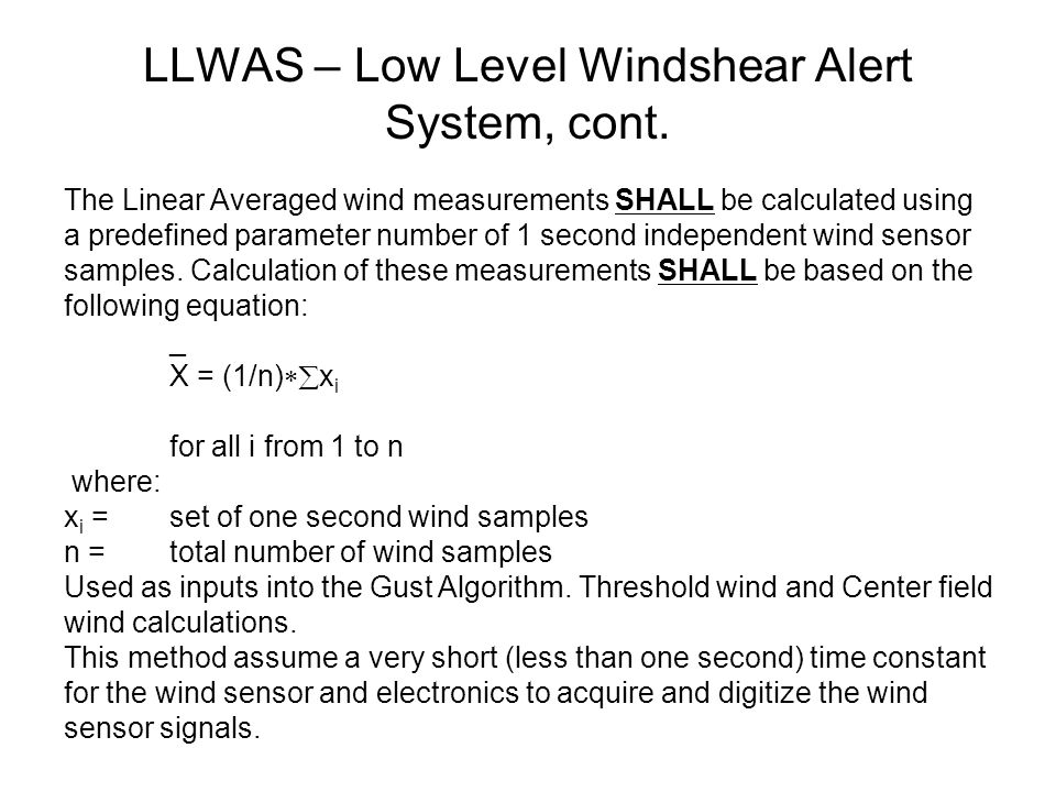 LLWAS – Low Level Windshear Alert System, cont.