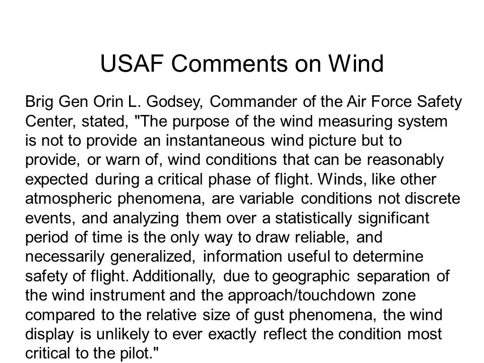 USAF Comments on Wind