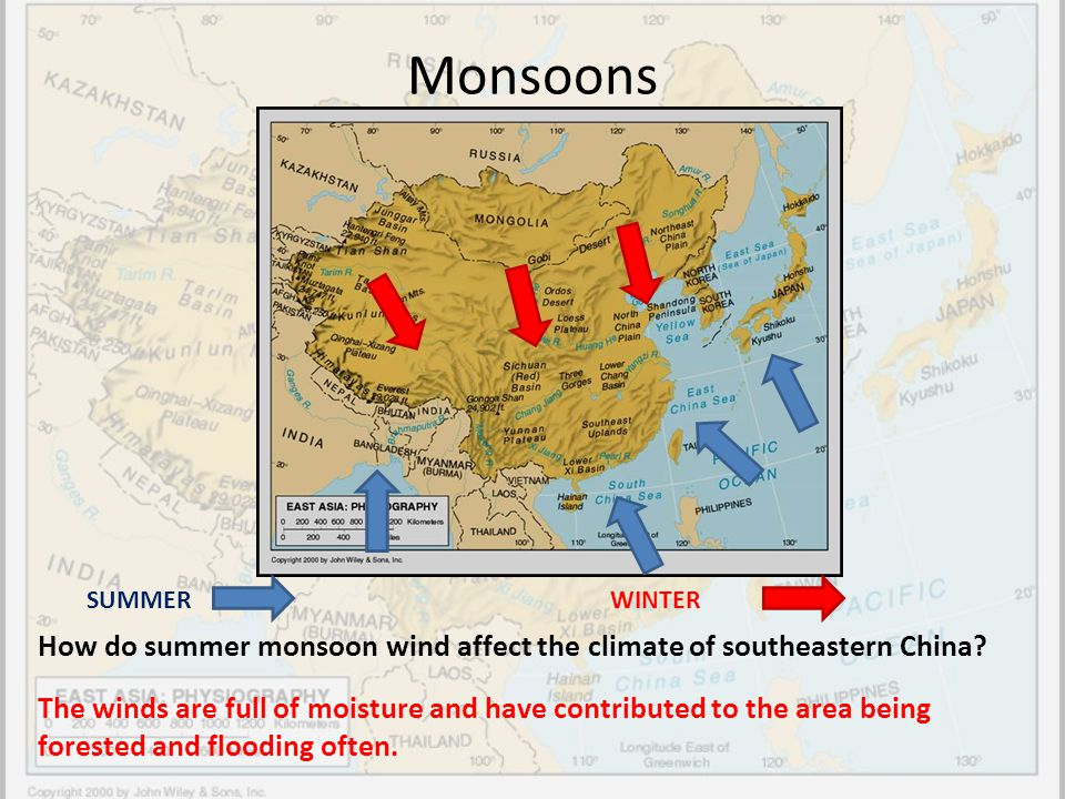 Monsoons SUMMER. WINTER. How do summer monsoon wind affect the climate of southeastern China