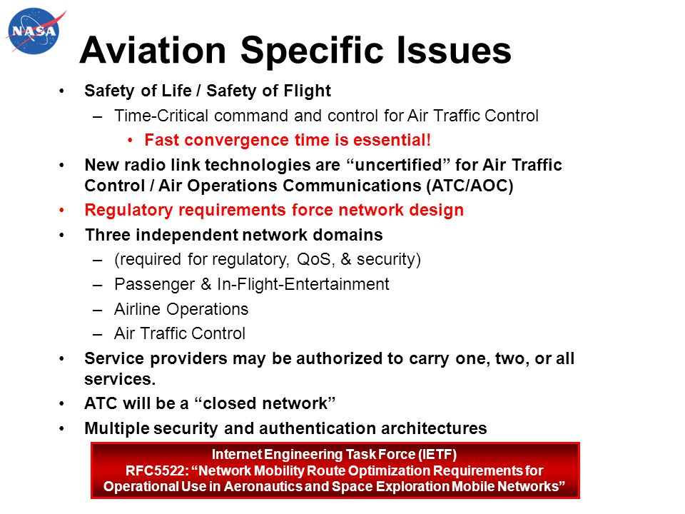 Aviation Specific Issues