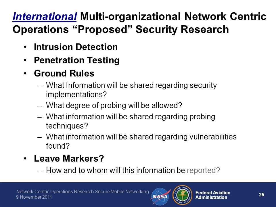 International Multi-organizational Network Centric Operations Proposed Security Research