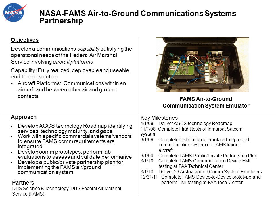 NASA-FAMS Air-to-Ground Communications Systems Partnership