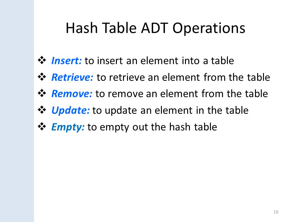 Hash Table ADT Operations