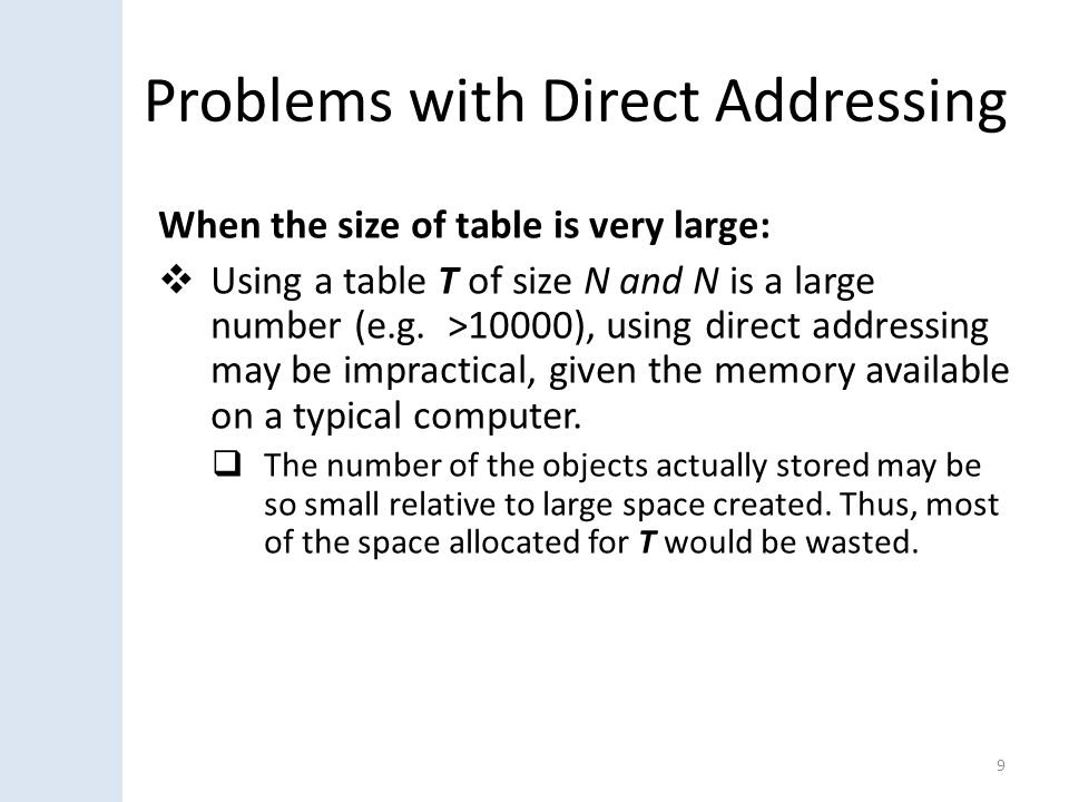 Problems with Direct Addressing