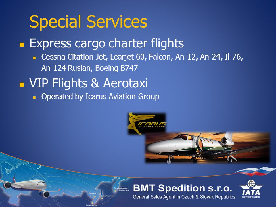 Special Services Express cargo charter flights VIP Flights & Aerotaxi