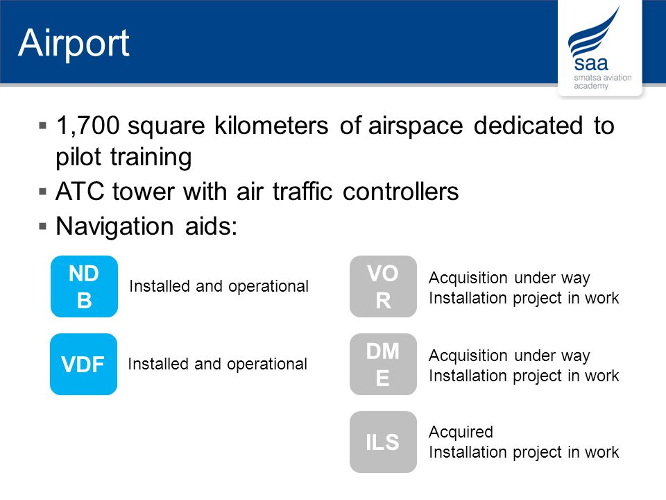 Airport 1,700 square kilometers of airspace dedicated to pilot training. ATC tower with air traffic controllers.