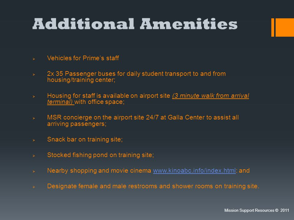 Additional Amenities Vehicles for Prime's staff