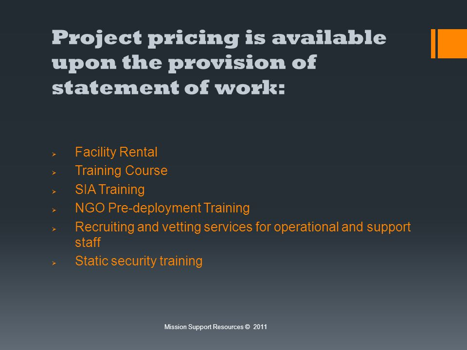 Project pricing is available upon the provision of statement of work: