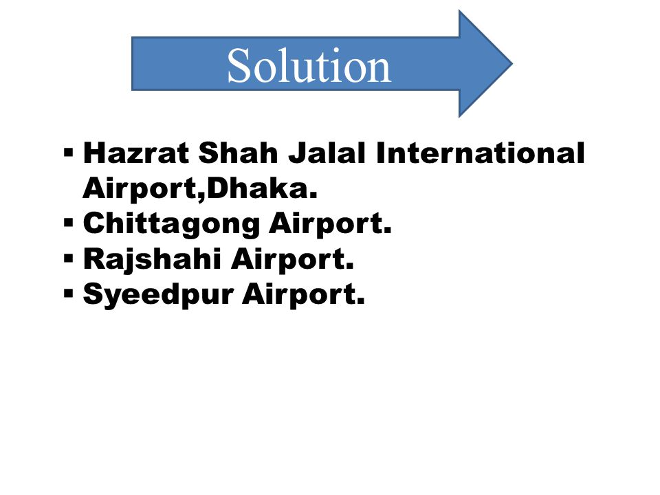 Solution Hazrat Shah Jalal International Airport,Dhaka.