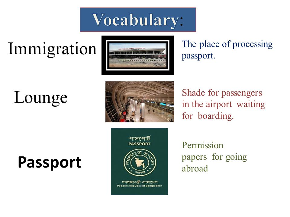 Vocabulary: Immigration Lounge Passport