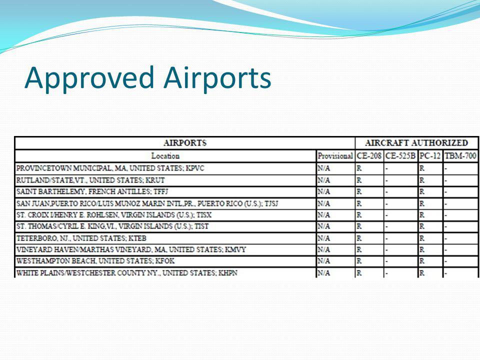 Approved Airports