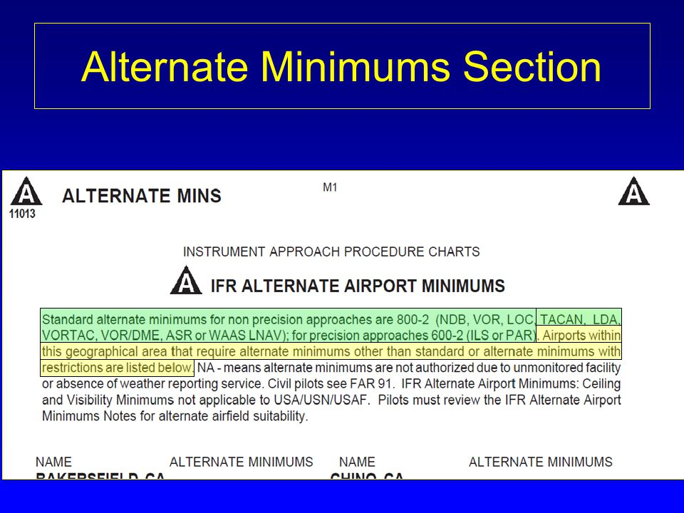 Alternate Minimums Section