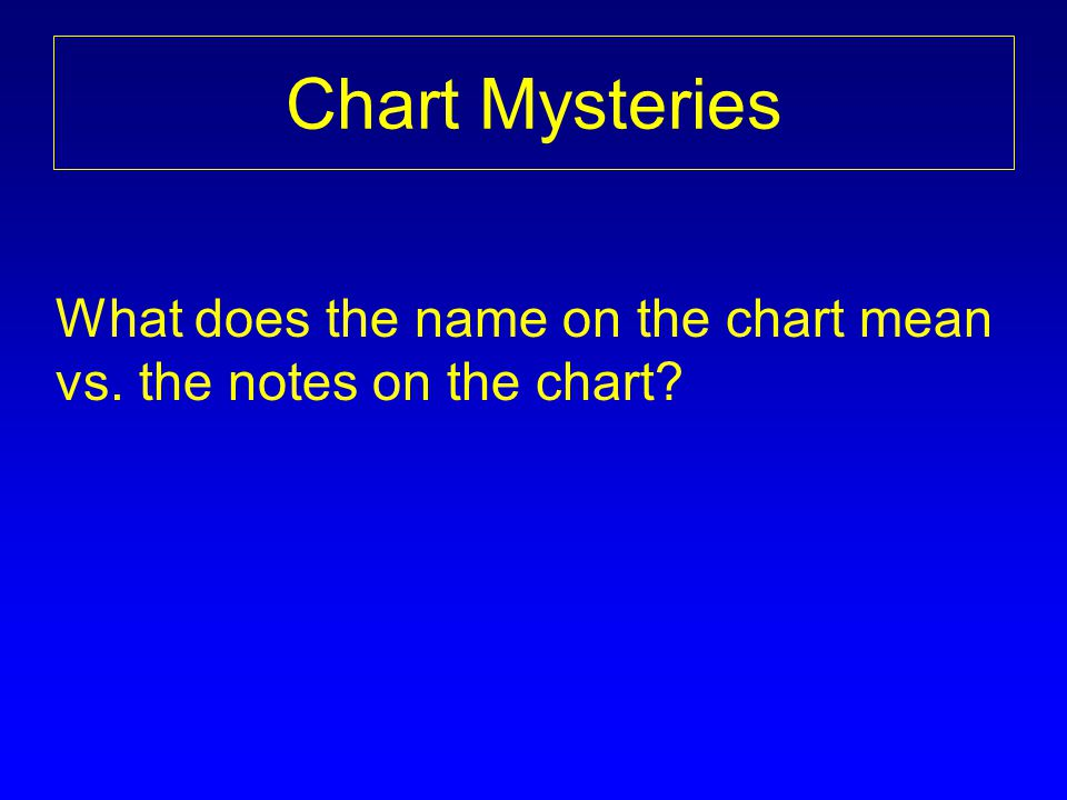 Chart Mysteries What does the name on the chart mean vs. the notes on the chart