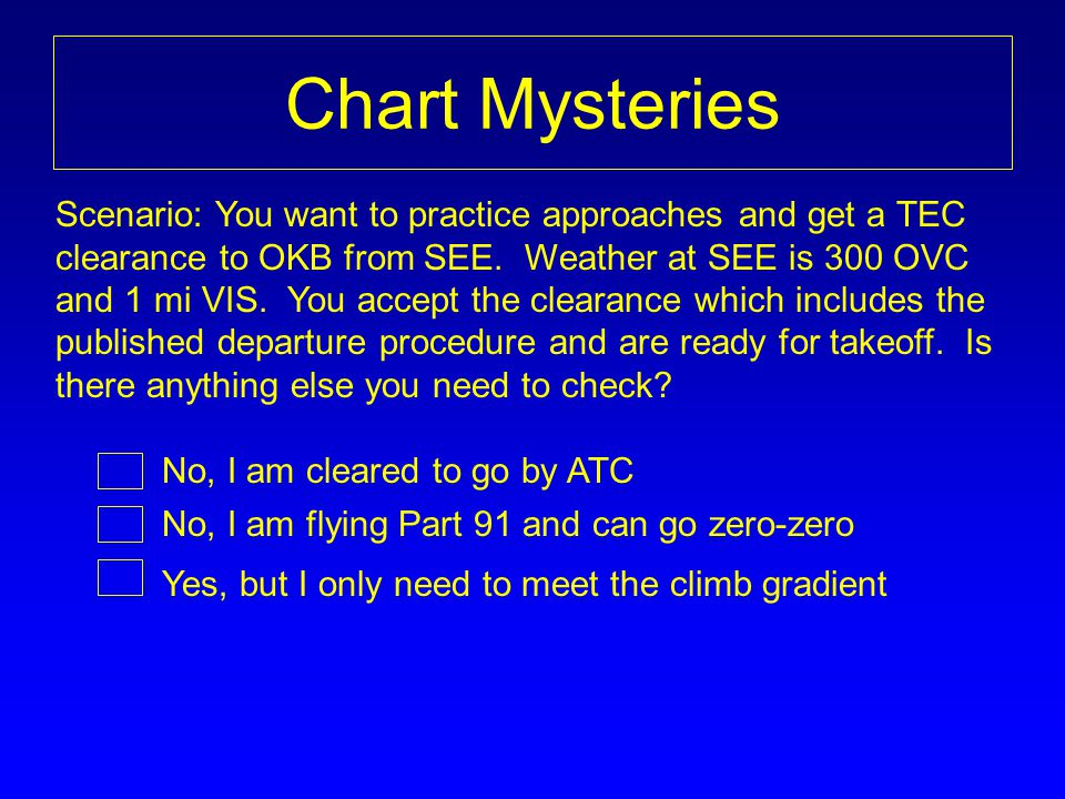 Chart Mysteries No, I am flying Part 91 and can go zero-zero