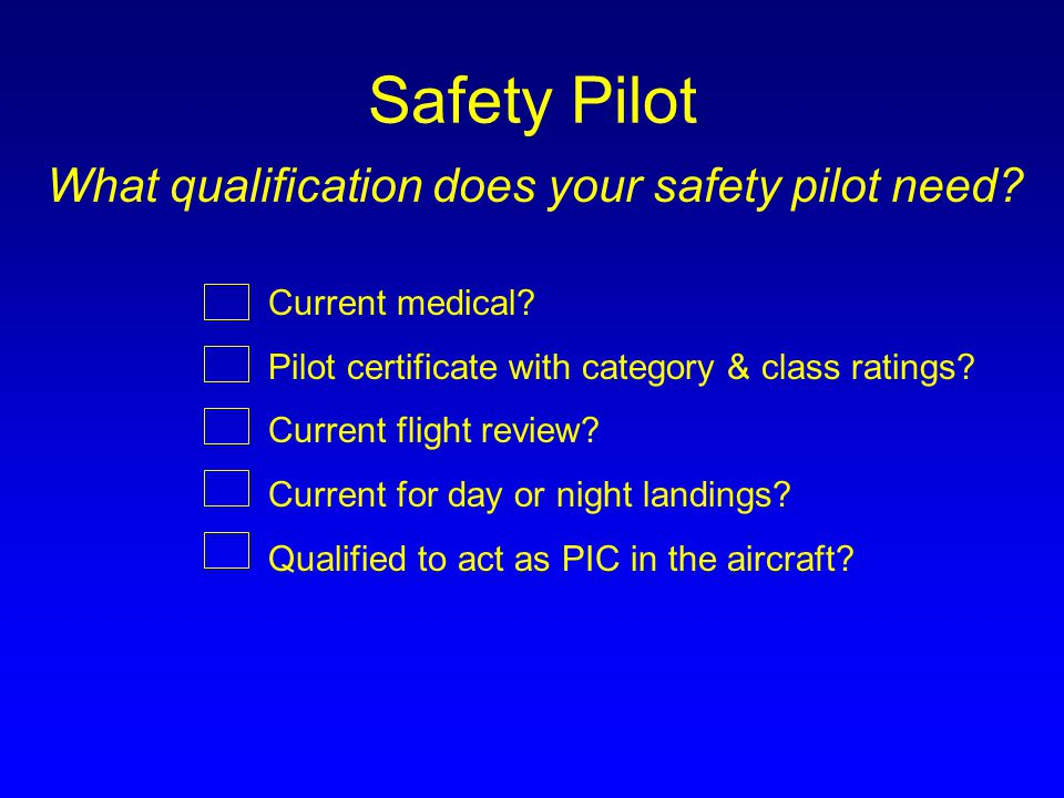 Safety Pilot What qualification does your safety pilot need