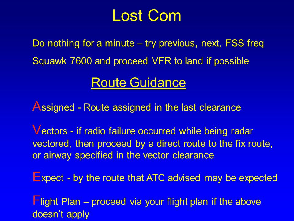 Lost Com Do nothing for a minute – try previous, next, FSS freq
