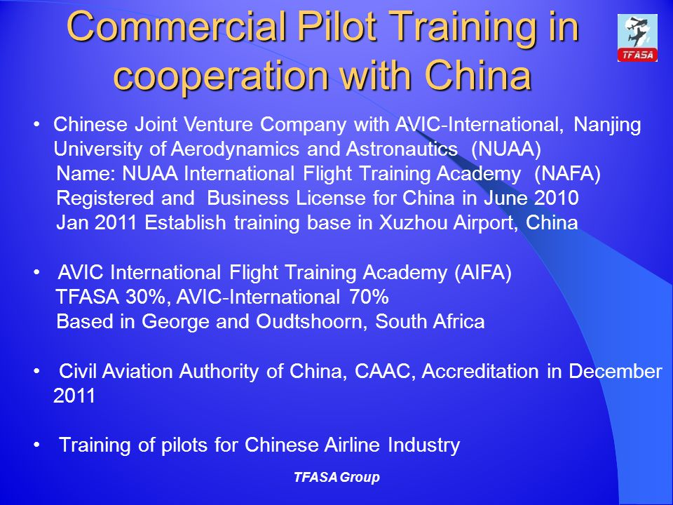 Commercial Pilot Training in cooperation with China