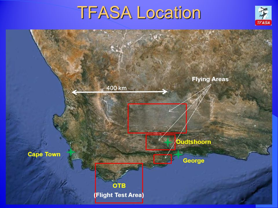TFASA Location Flying Areas 400 km Oudtshoorn Cape Town George OTB