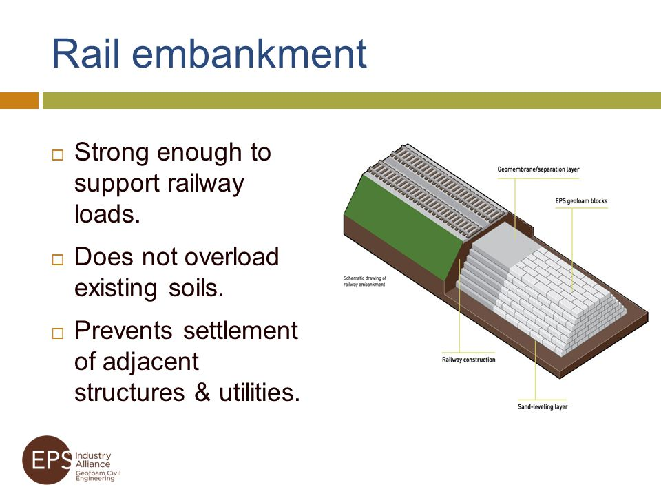 Rail embankment Strong enough to support railway loads.