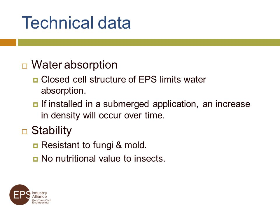 Technical data Water absorption Stability