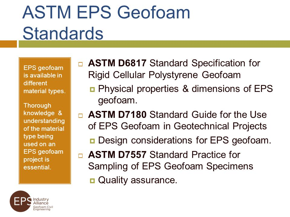 ASTM EPS Geofoam Standards