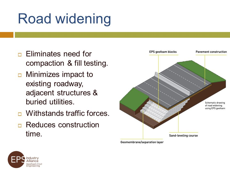 Road widening Eliminates need for compaction & fill testing.