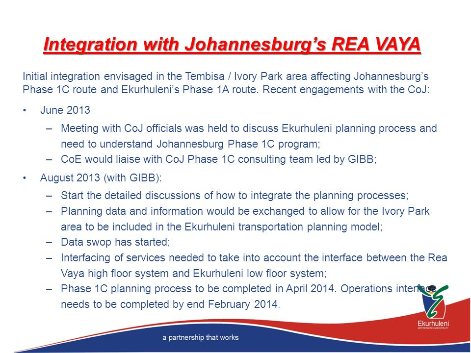 Integration with Johannesburg's REA VAYA