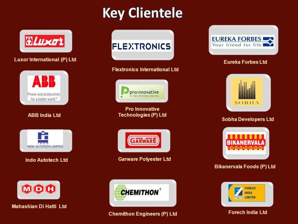 Key Clientele Luxor International (P) Ltd Eureka Forbes Ltd