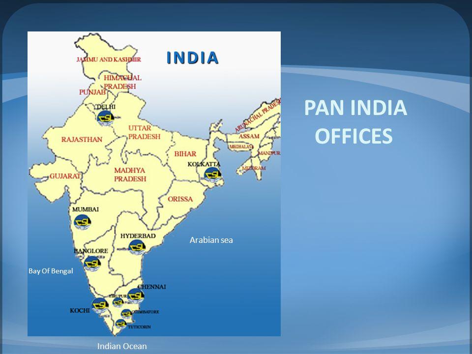 INDIA India PAN INDIA OFFICES Arabian sea Bay Of Bengal Indian Ocean