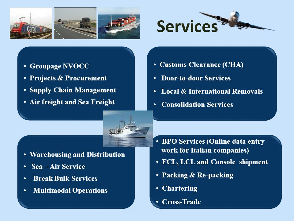 Services Customs Clearance (CHA) Groupage NVOCC Projects & Procurement