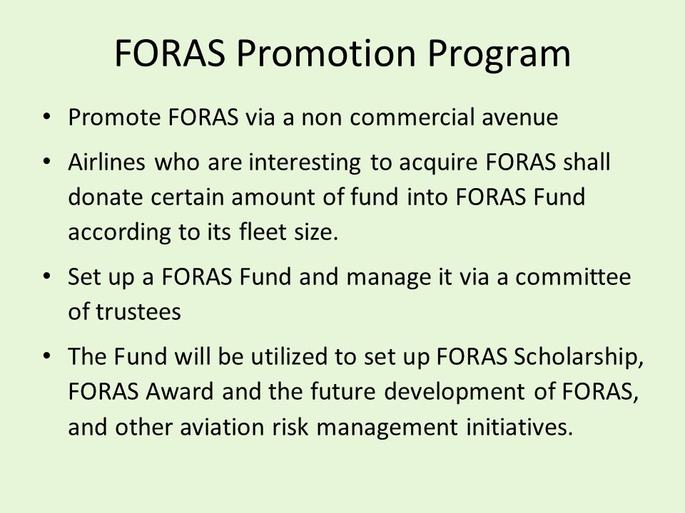 FORAS Promotion Program