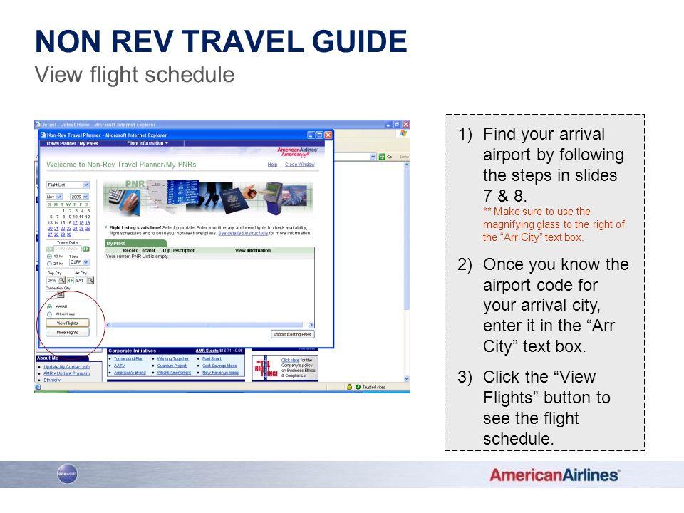 Non Rev Travel guide View flight schedule
