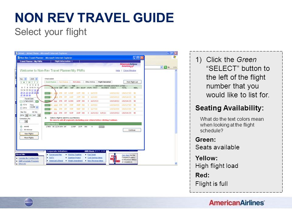 Non rev travel guide Select your flight